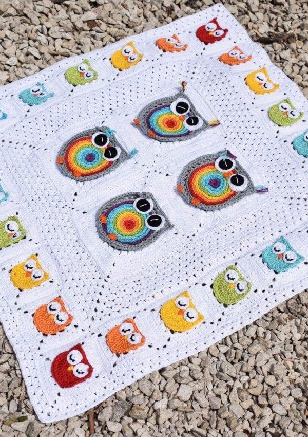 rainbow owl granny square blanket