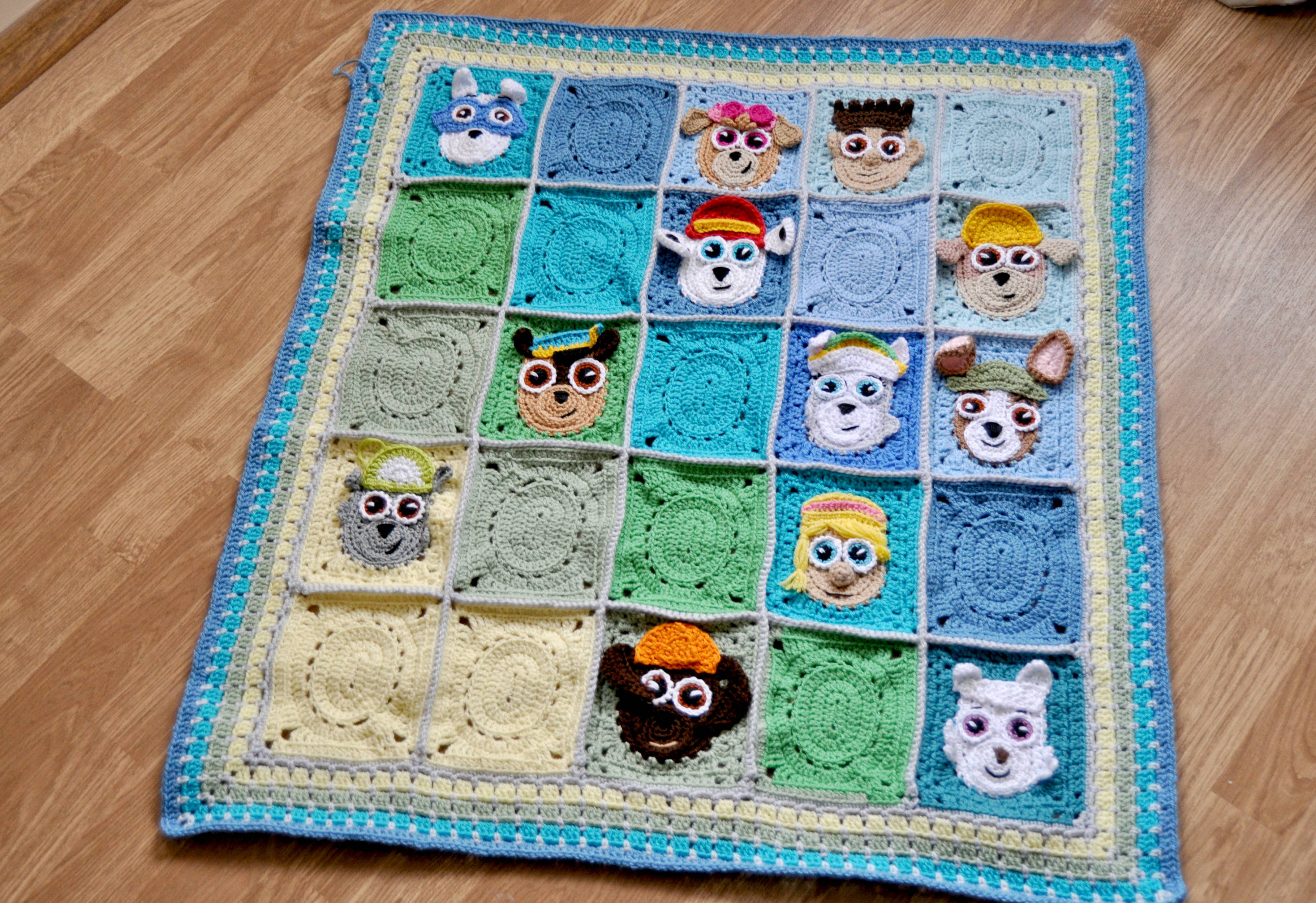 Granny square free crochet pattern Paw Patrol puppies blanket
