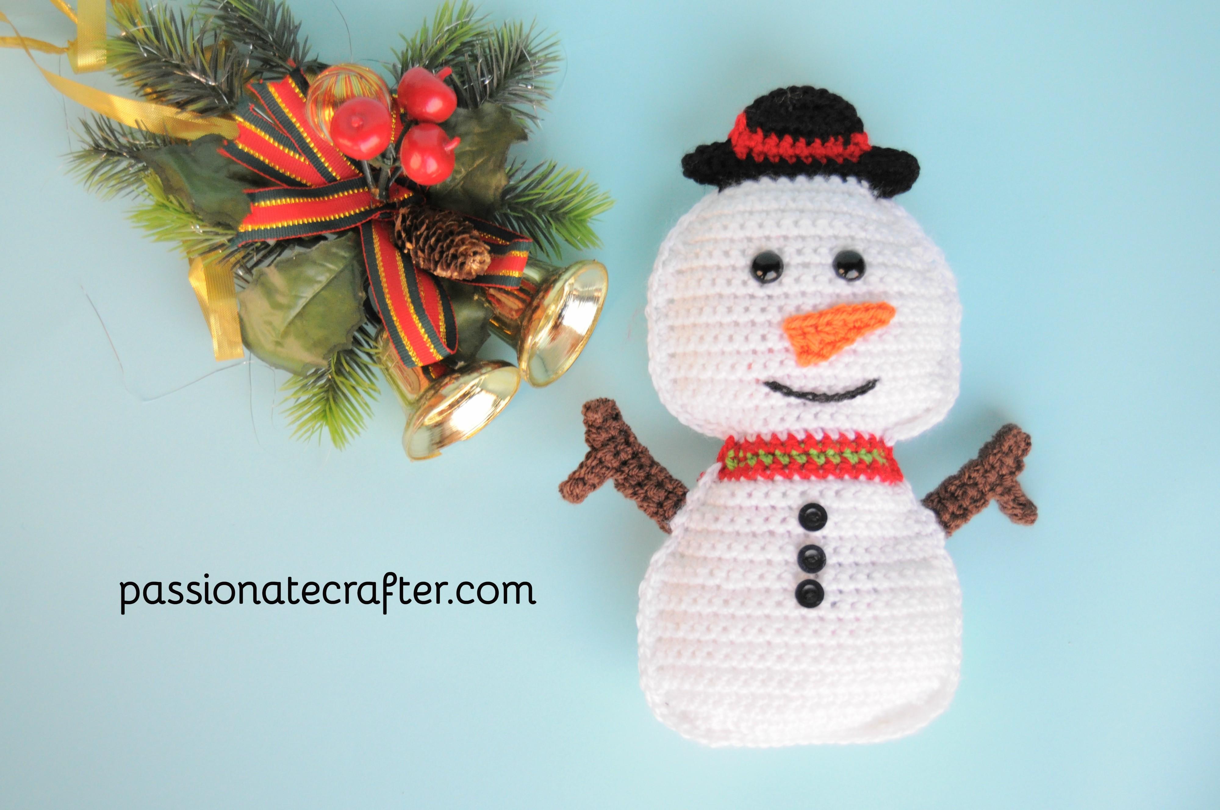 Snowman free crochet pattern ragdoll