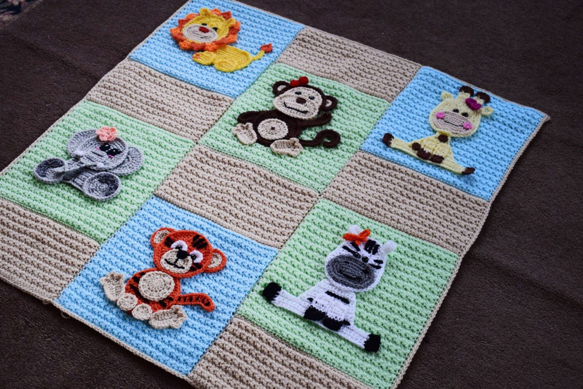 Appliques jungle friends set baby blanket ⋆ passionatecrafter