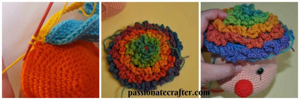 how to crochet clown wig free pattern