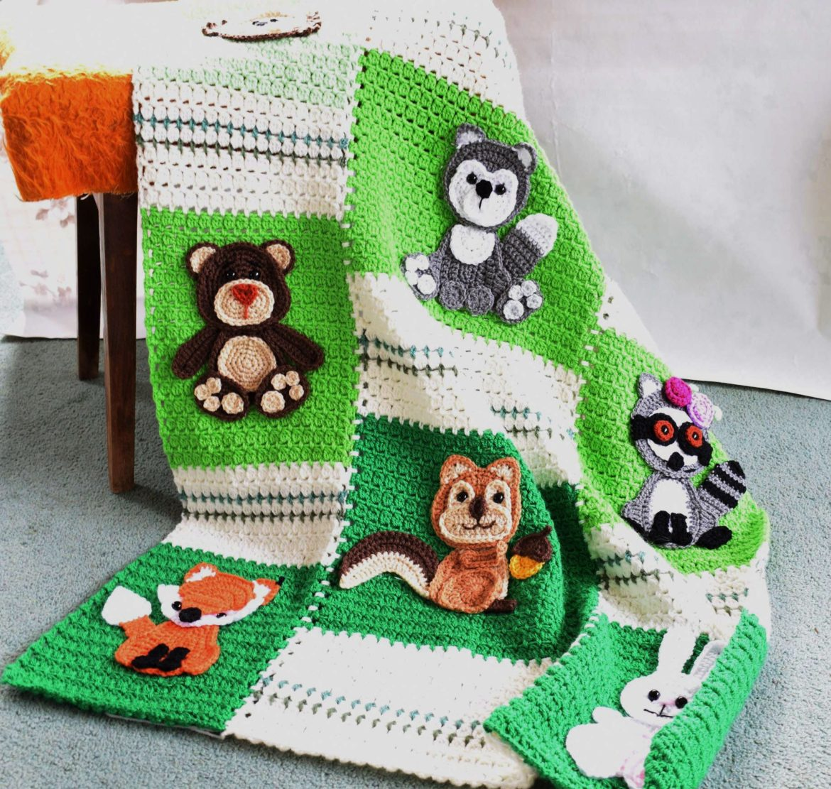 free crochet pattern of forest animal appliques