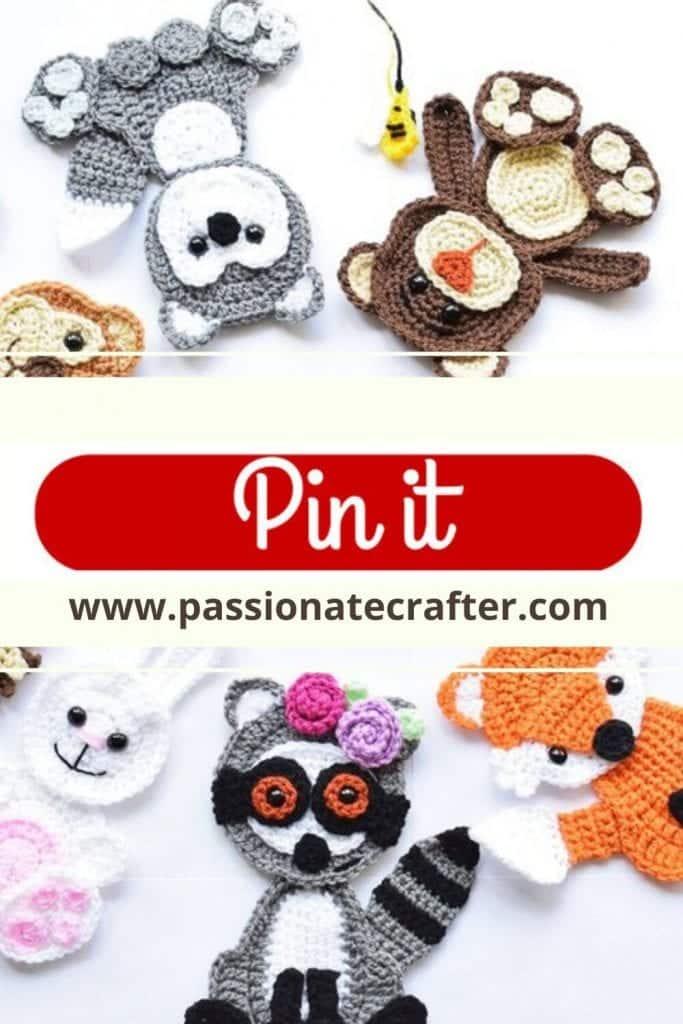 8 crochet animal appliques free pattern
