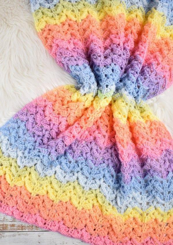 "How to crochet super textured and easy ""Rainbow Sky "" chevron blanket"