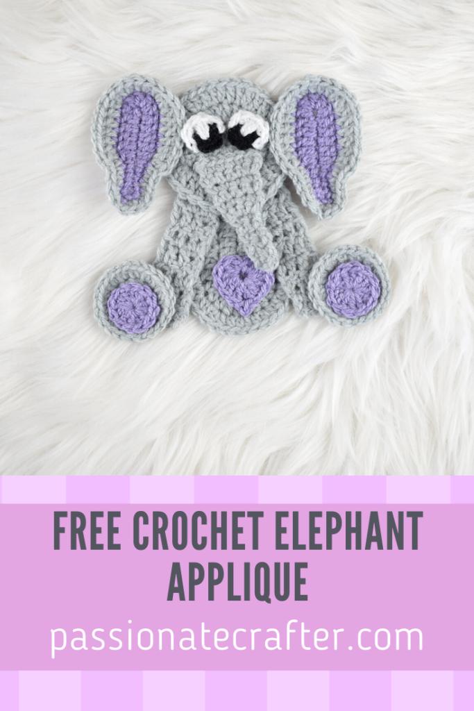 E is for Elephant: Crochet Elephant Applique - Repeat Crafter Me | 1024x683