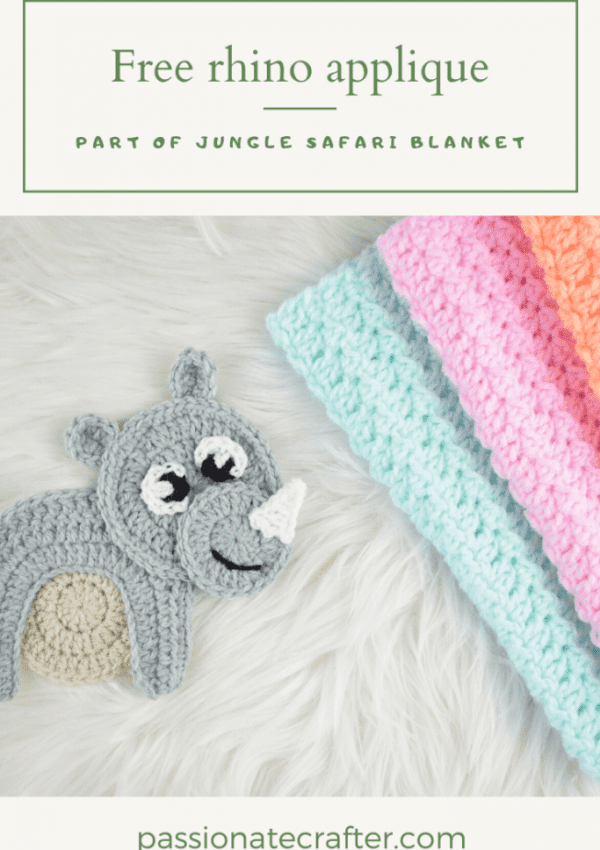 crochet rhino applique free pattern