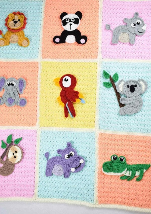 Crochet baby blanket- Safari themed with 9 crochet jungle animal appliques