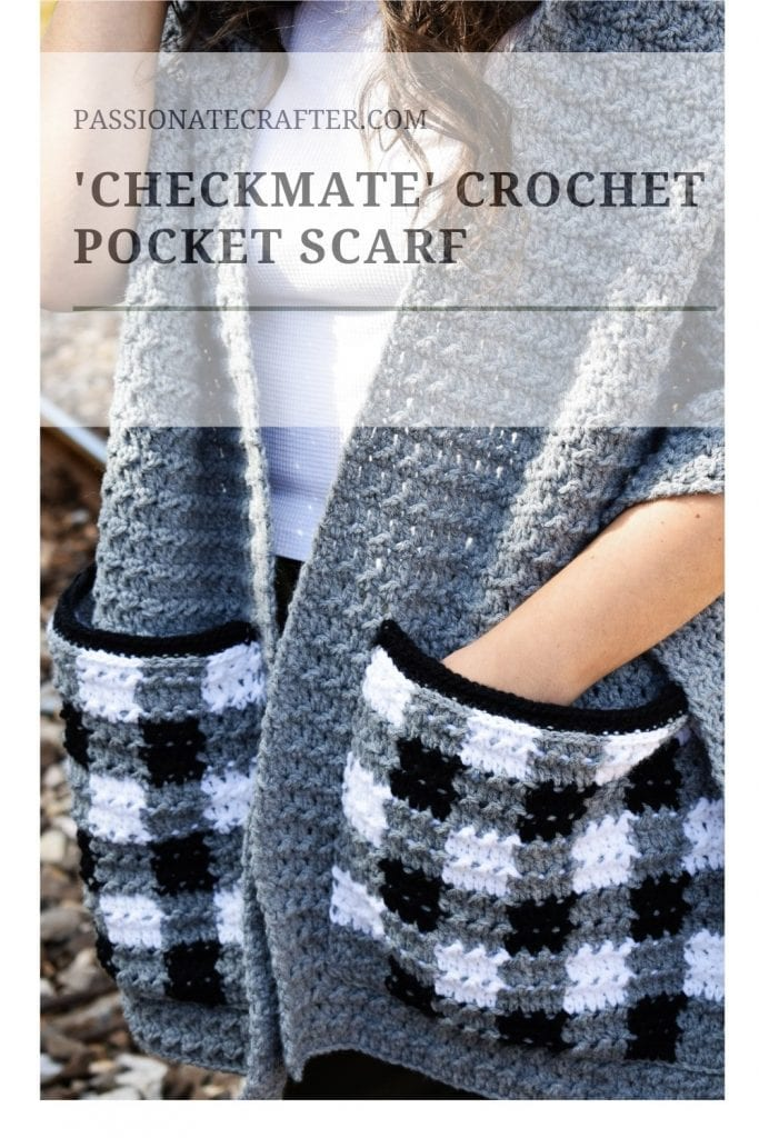 Crochet pocket scarf with hoodie and buffalo plaid
