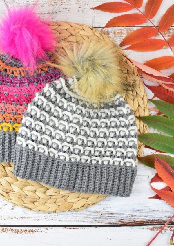 free crochet colorful beanie pattern