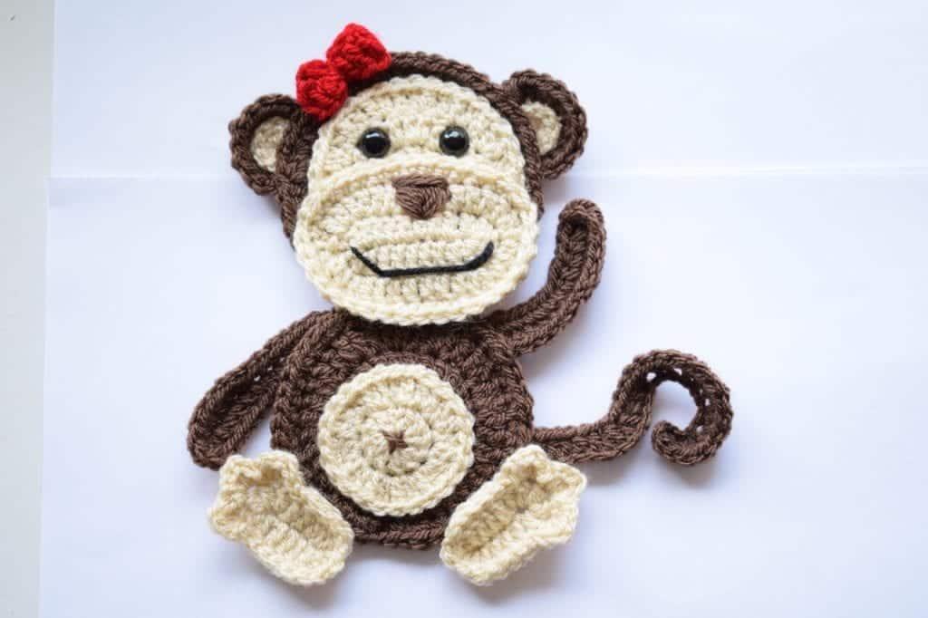 free crochet monkey applique pattern