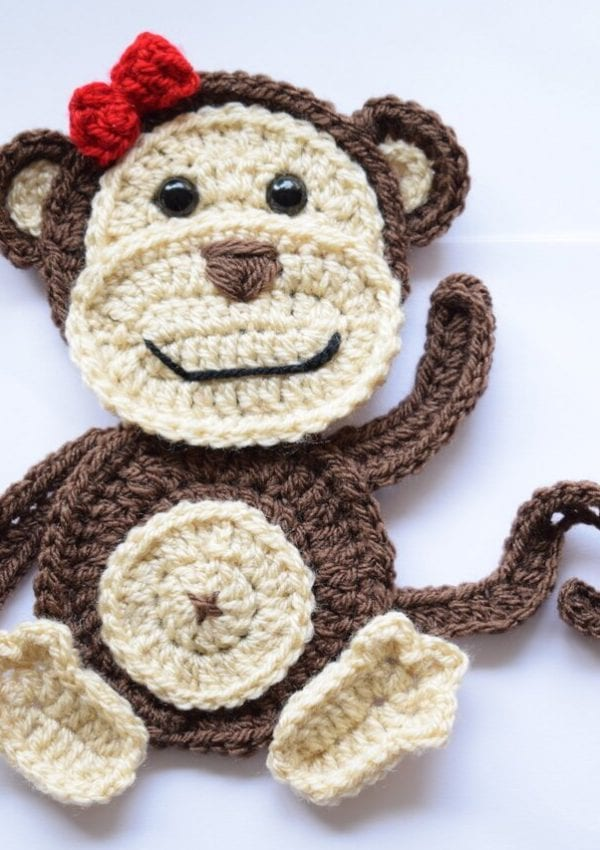 free crochet monkey applique pattern