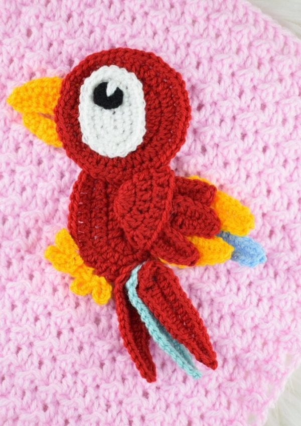free crochet parrot applique pattern