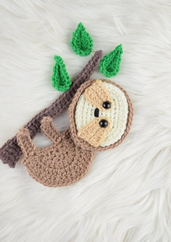 Crochet Sloth applique pattern