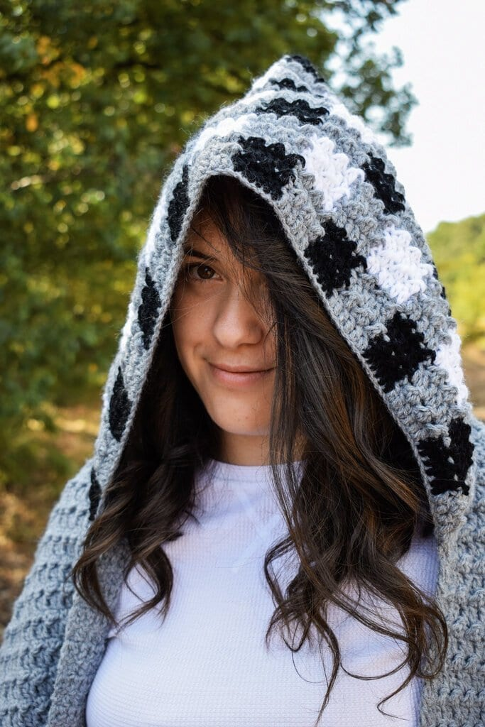 hooded crochet pocket scarf free pattern