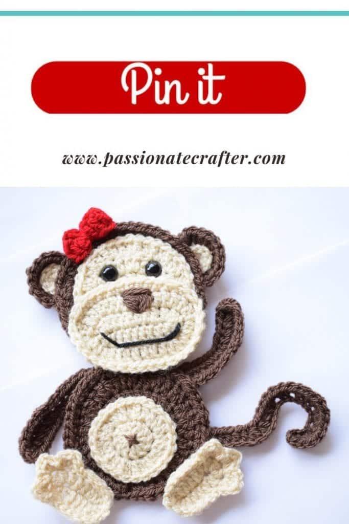 crochet monkey applique pattern