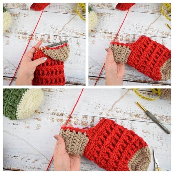 how to crochet xmas stocking heel