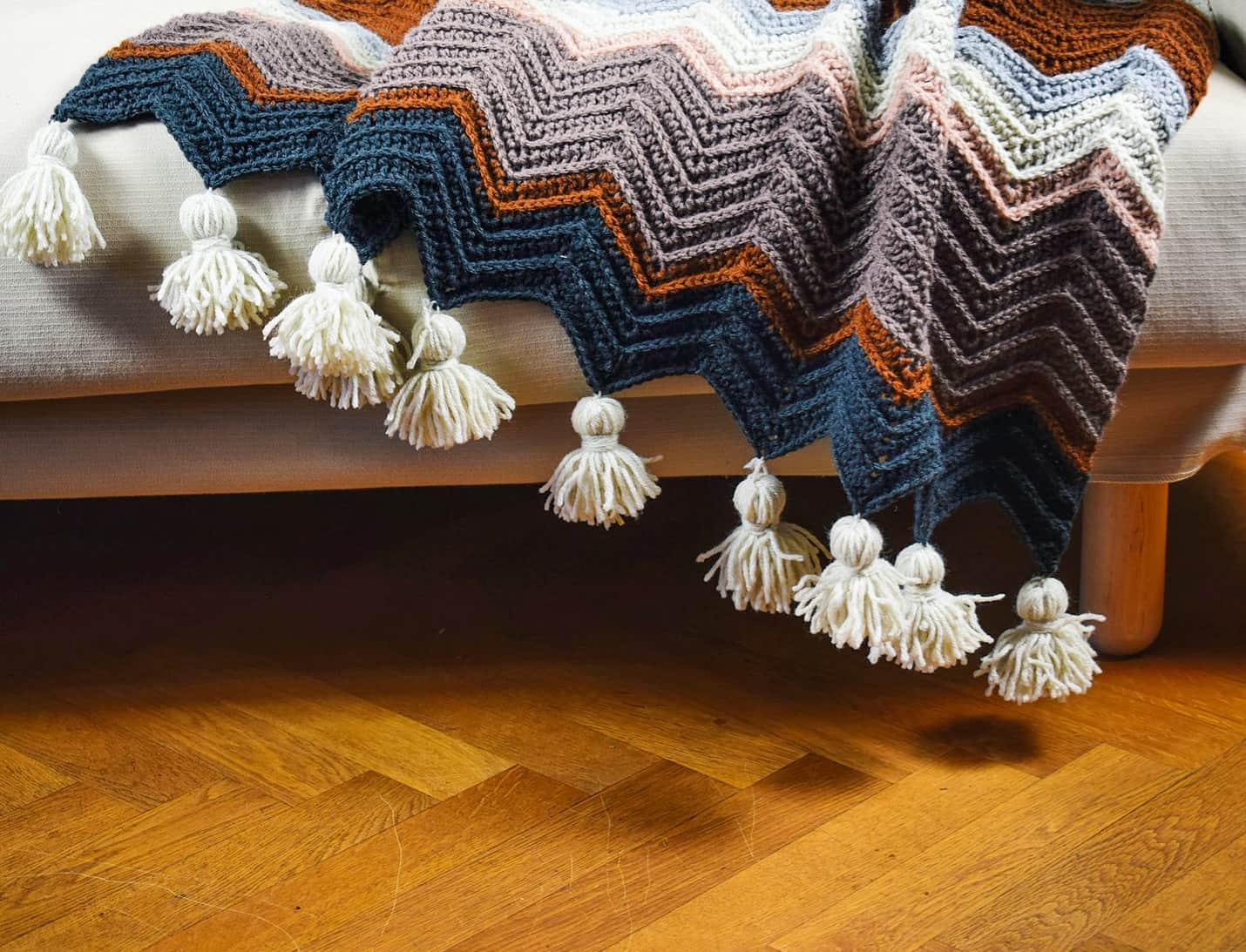 crochet blanket with tassels
