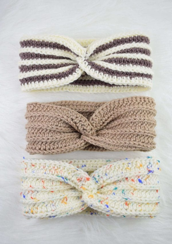 Knit-a-look crochet twisted headband free pattern