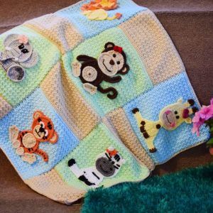 crochet jungle animal appliques